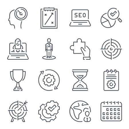 SEO monitoring and development elated line icon set. Launch of the project and startup service vector linear icons. 일러스트