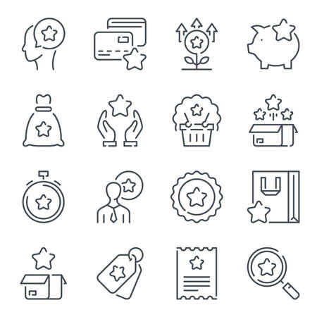 Loyalty program and Customer reward service related line icon set. Client bonuses linear icons. Coupon and point tickets outline vector sign collection.