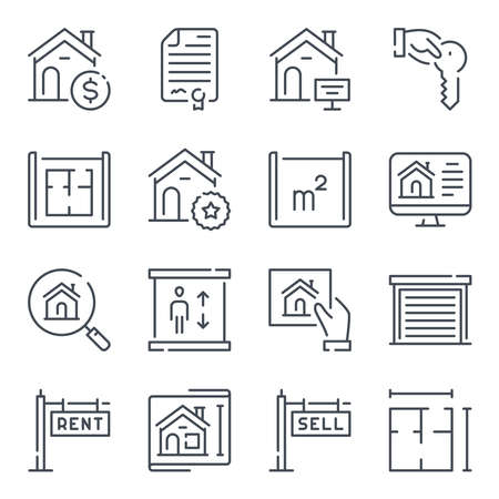 Real Estate related line icons. Apartment and property vector linear icon set. Çizim