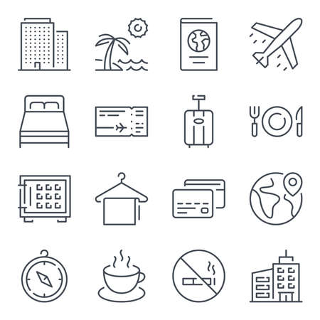 Travel and tourism related line icons. Vacation vector linear icon set.