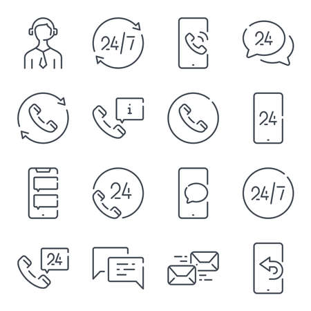 Support and call center related line icon set. Telemarketing and sales linear icons. Support services outline vector sign collection.