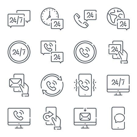 Callback related line icon set. Processing linear icons. Call support and 24 hour service outline vector sign collection.