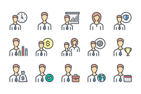 Business People related color line icon set. Team work colorful linear icons. Working staff and Profile Settings flat color outline vector sign collection.