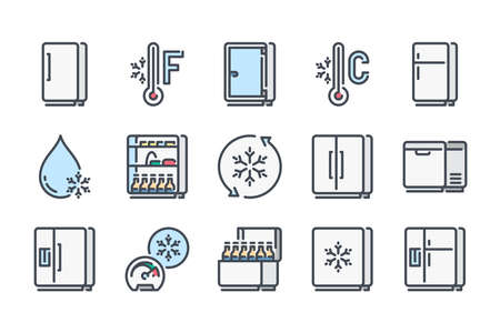 Fridge related color line icon set. Refrigerator colorful linear icons. Freezer, Keep Frozen and Cold Food Storage flat color outline vector sign collection. 矢量图像