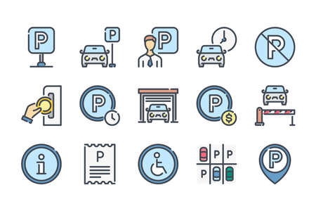Parking related color line icon set. Paid Parking and Private Entry colorful linear icons. Garage and Car-park flat color outline vector sign collection.