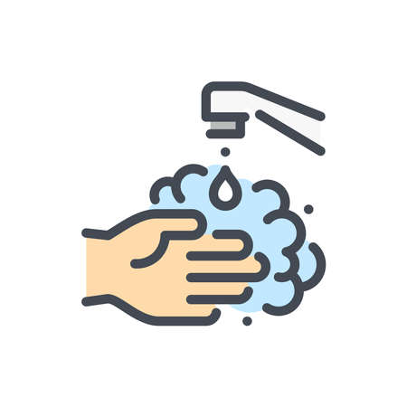 Washing Hands with Foam color line icon. Hand Wash vector outline colorful sign.