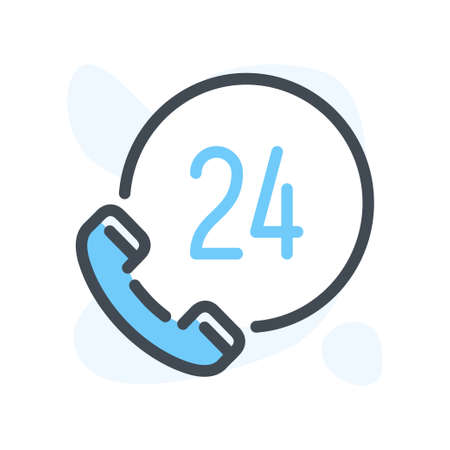 24h Phone Support line icon. Support Service and Help Center color icon in line style. Help Line Call vector illustration.