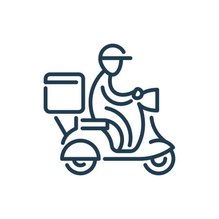 Fast Food Delivery vector line icon. Express Shipping ouline symbol. Man Rides a Scooter lined icon. 矢量图像