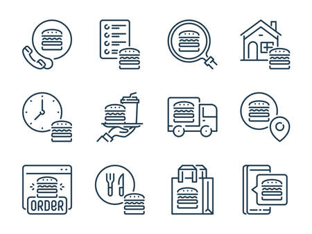 Food Delivery related vector line icon set. Online Food Order outline icons. Fast Shipping icon collection.