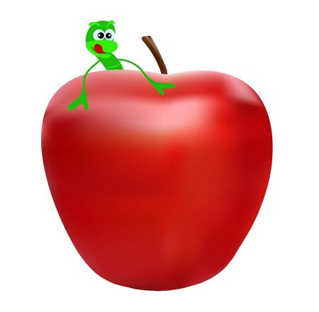 character worm wants to eat an apple
