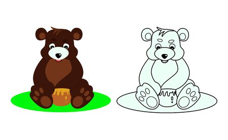 bear coloring book for kids, vector illustration