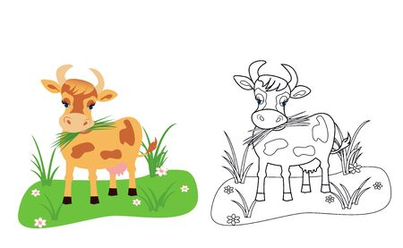 coloring book for kids cow, vector illustration