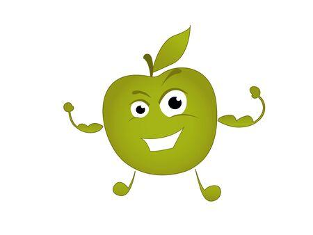character sports green apple, illustration