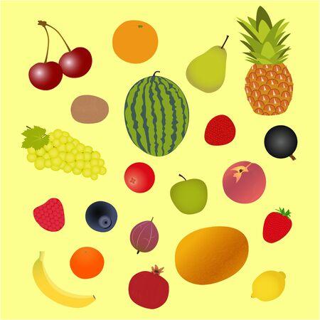 fruits and berries, assortment, set, vector illustration Ilustração