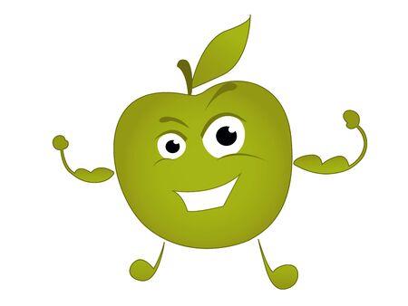 funny character apple athlete Banco de Imagens