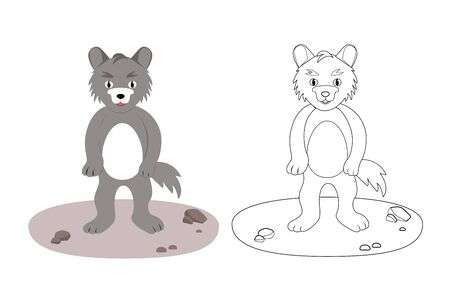 Coloring book for children wolf, vector illustration