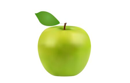 fresh green apple close up, healthy fruit, vector illustration