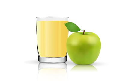 Apple juice, green apple on a white background