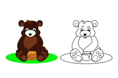 bear coloring book for small children, vector illustration
