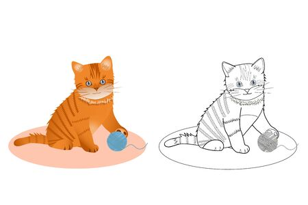 coloring book for kids with a little kitten, vector illustration