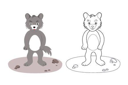 Coloring book for children, wolf, vector illustration Ilustração