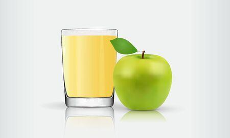 apple juice in a glass, green apple