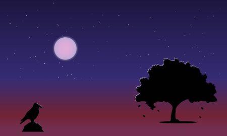 Beautiful landscape, autumn night, full moon, starry sky