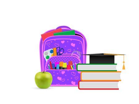 Backpack with school supplies. Front view, vector illustration. Ilustração