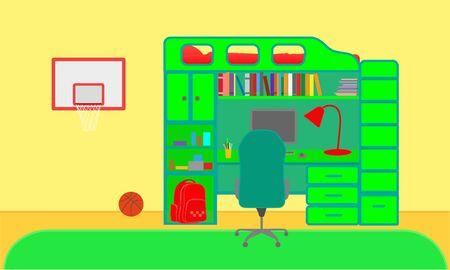 Nursery of a boy playing basketball, vector illustration