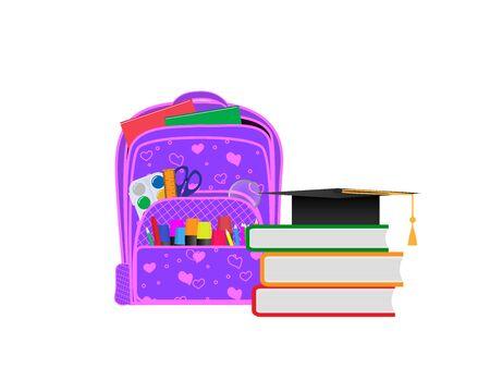 Backpack with school supplies. Front view, vector illustration. Banco de Imagens