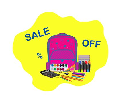 Backpack for girls with school supplies. Sale at the store. Back to school. vector illustration Ilustração