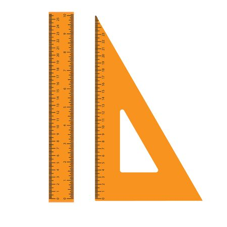 set, ruler, triangle, school supplies, vector illustration