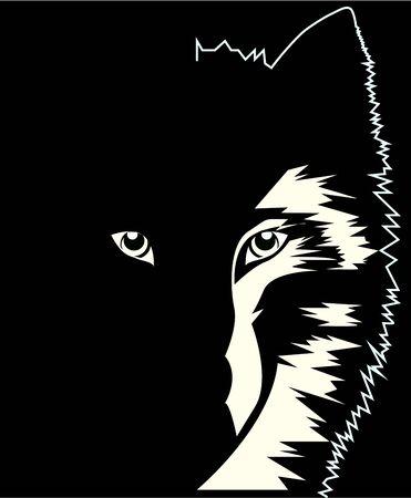 dangerous wolf in the dark, black and white drawing, vector illustration Ilustração