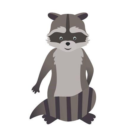Vector illustration in cartoon style, cute raccoon on white.