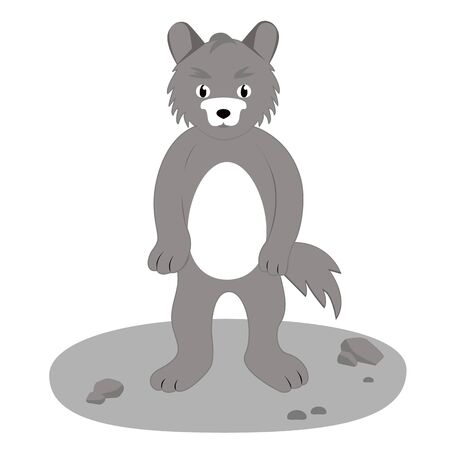 gray wolf, drawing, vector illustration in cartoon style