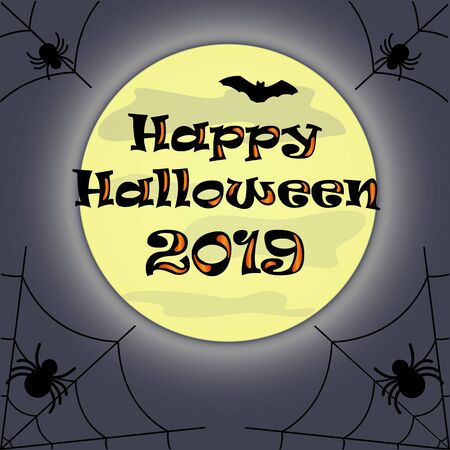 Halloween night, magic moon in the night sky, spiders, illustration