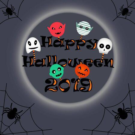 happy halloween 2019, holiday lollipops, greeting card, vector illustration