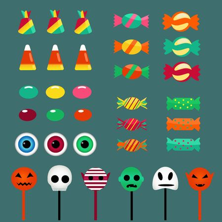 set of sweets and lollipops, halloween 2019, vector illustration