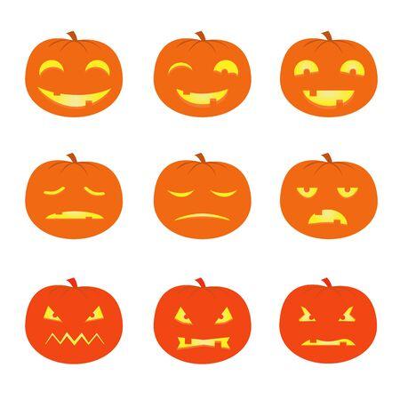 9 funny, sad and scary pumpkins, characters vector image, Halloween holiday symbol 2019
