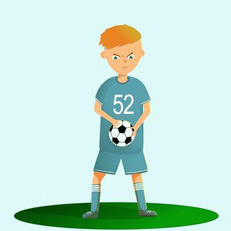 Boy soccer player playing football, vector illustration