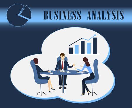 analyse commerciale, business intelligence, discussion, négociations à table, illustration vectorielle