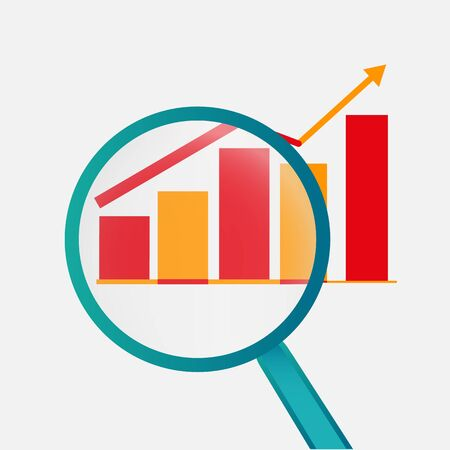 Business analysis, analytics graph analysis tools, vector illustration