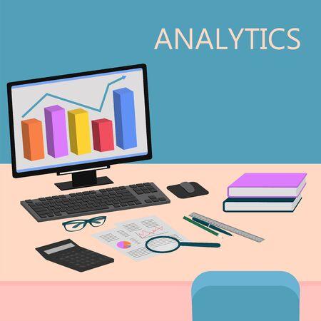Business analysis, analytics graph analysis tools, vector illustration Vecteurs