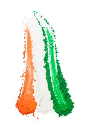 The colors of the indian flag painted in a smear  Stock Photo