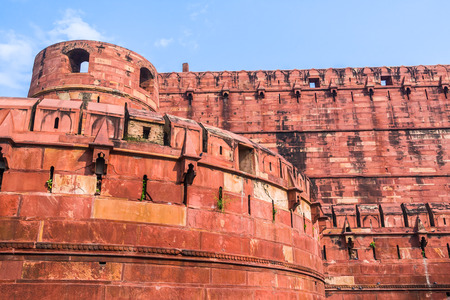 Bastions and battlements on the Red Fort in Agra. Editorial