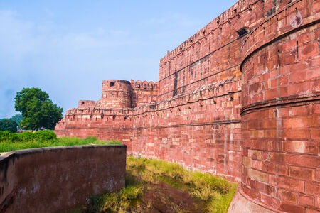 The walls and battlments of the Red Fort in Agra. Editorial
