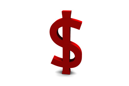 A 3D render of a red dollar sign isolated on white