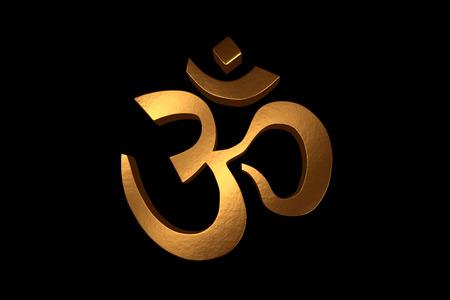 A 3D Render of a Golden Om Symbol on a Black Background