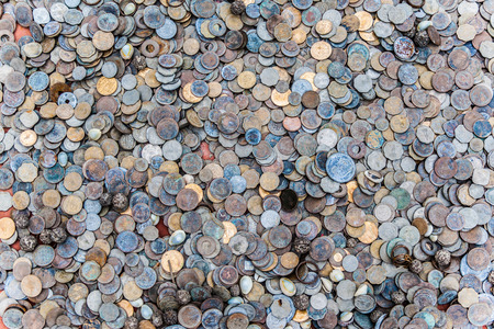 A pile of loose change in Indian rupees  Stock Photo