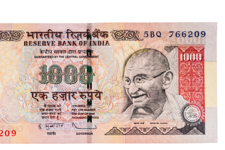 A one thousand rupee note  Indian Currency  isolated on a white background